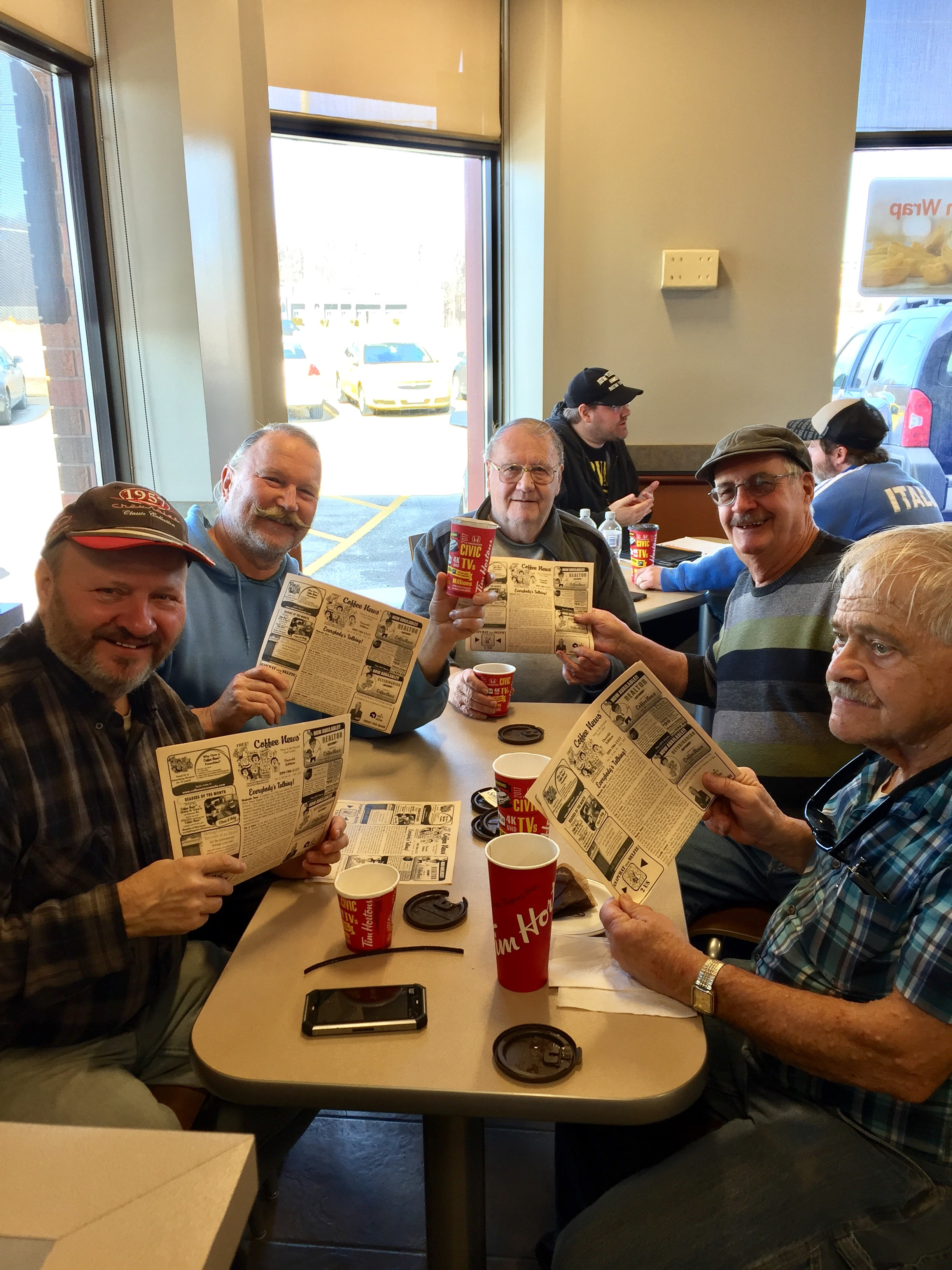 George mike bob smitty don at Timmies turners corners